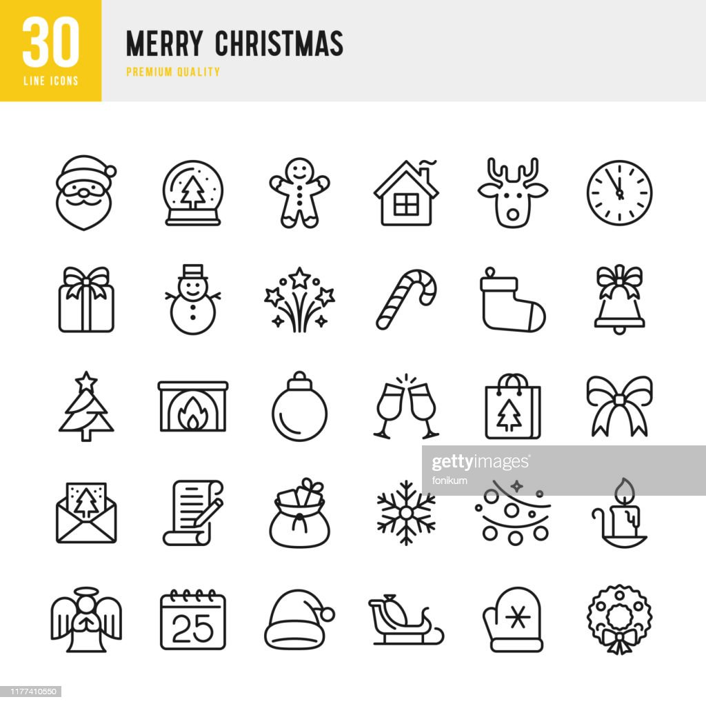 Christmas - thin line vector icon set. Pixel Perfect. Set contains such icons as Santa Claus, Christmas, Gift, Reindeer, Christmas Tree, Snowflake. : stock illustration