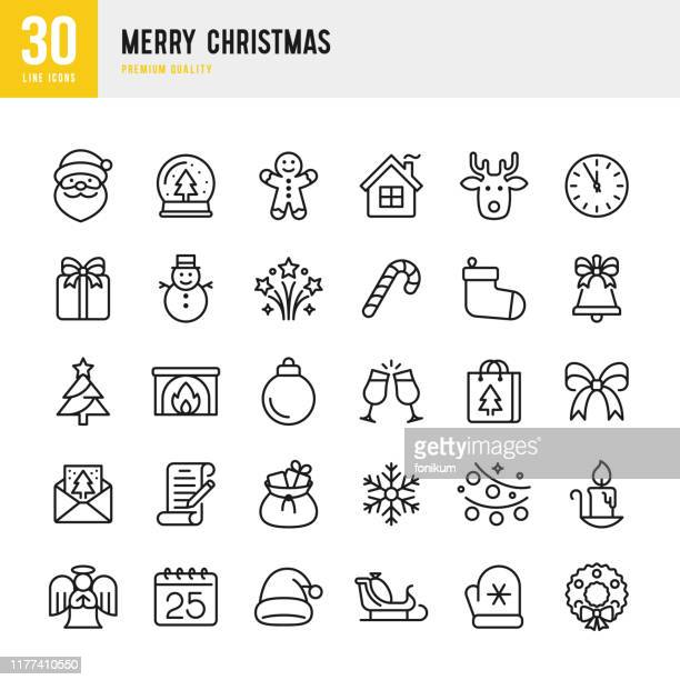 ilustrações de stock, clip art, desenhos animados e ícones de christmas - thin line vector icon set. pixel perfect. set contains such icons as santa claus, christmas, gift, reindeer, christmas tree, snowflake. - vetor
