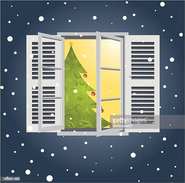 weihnachten durch das fenster - fenster stock-grafiken, -clipart, -cartoons und -symbole
