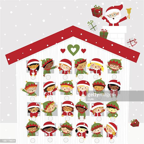 Christmas time cute kids elf santaclaus present gift snow calendar