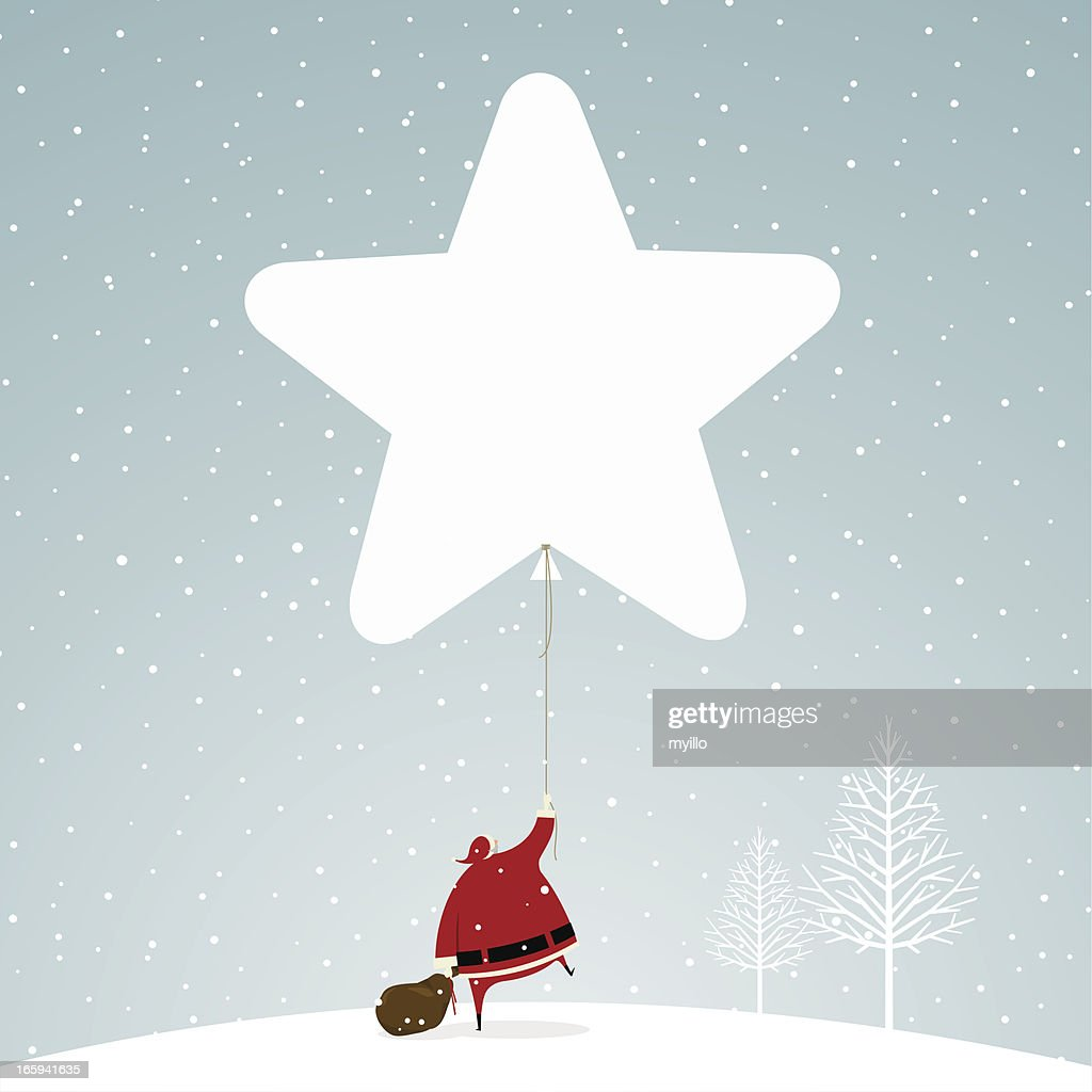 Christmas time santa claus star snowing snow illustration vector : stock illustration