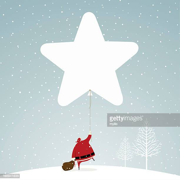 Christmas time santa claus star snowing snow illustration vector
