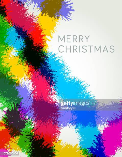 christmas tinsel greeting - tinsel stock illustrations