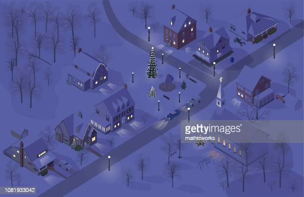 Christmas town illustration