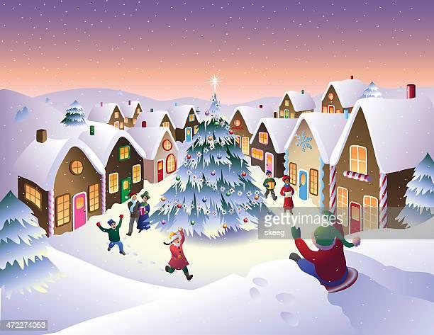 illustrations, cliparts, dessins animés et icônes de christmas town - village