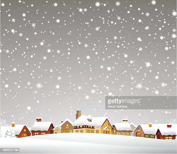 christmas town - snow stock illustrations