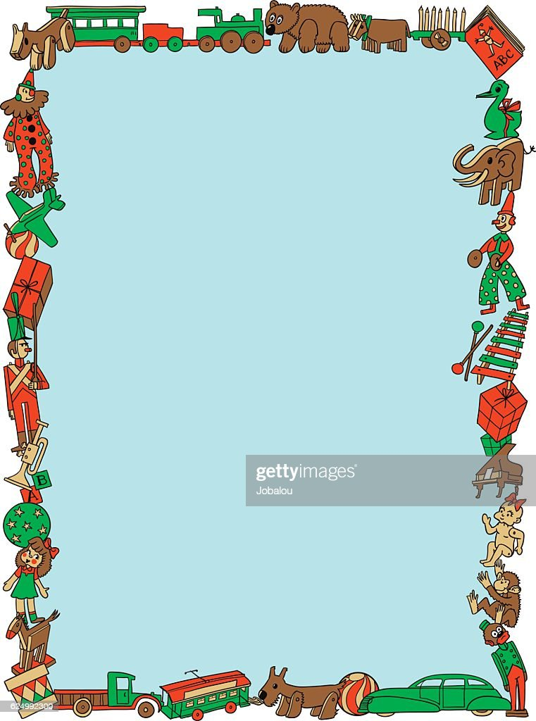 Christmas Toys Retro Styled Frame Vector Art Getty Images