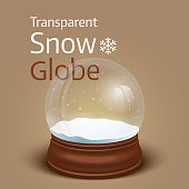 Christmas transparent snow globe. Vector illustration
