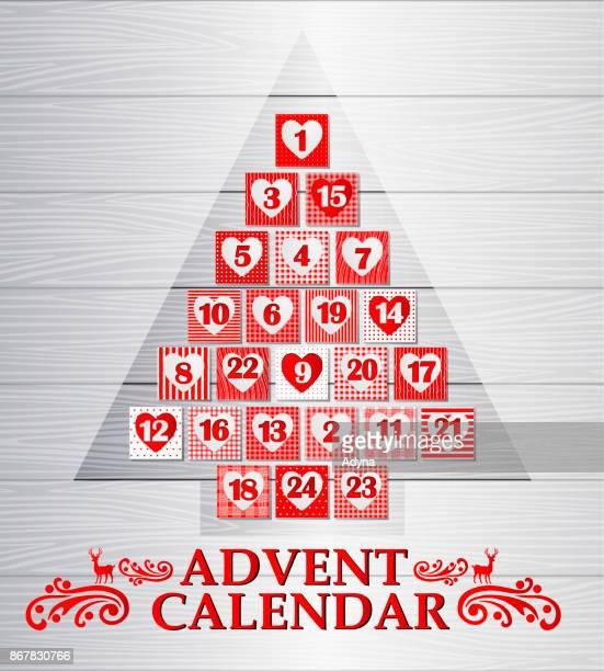 illustrazioni stock, clip art, cartoni animati e icone di tendenza di christmas tree advent calendar - avvento