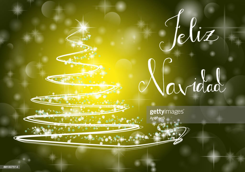 Christmas Eve In Spanish.Christmas Tree Background With Merry Chistmas In Spanish