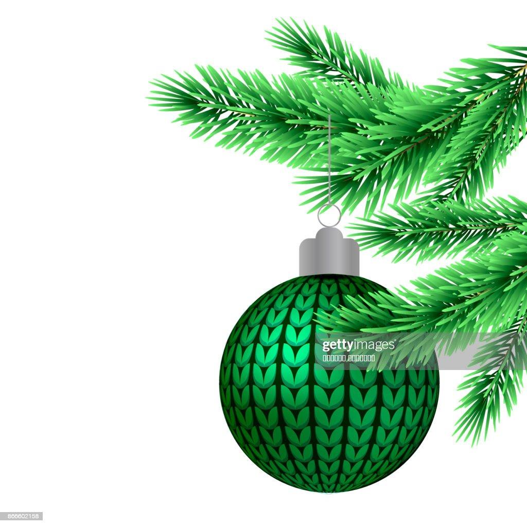Weihnachtsbaum Ast.Weihnachtsbaumkugel Auf Einem Ast Vektorgrafik Getty Images