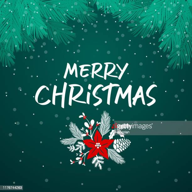ilustrações, clipart, desenhos animados e ícones de filial e flores da árvore de natal - festival tradicional