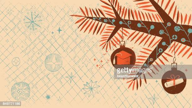 christmas tree branch with graduation theme decorations - celebrities stock illustrations, clip art, cartoons, & icons