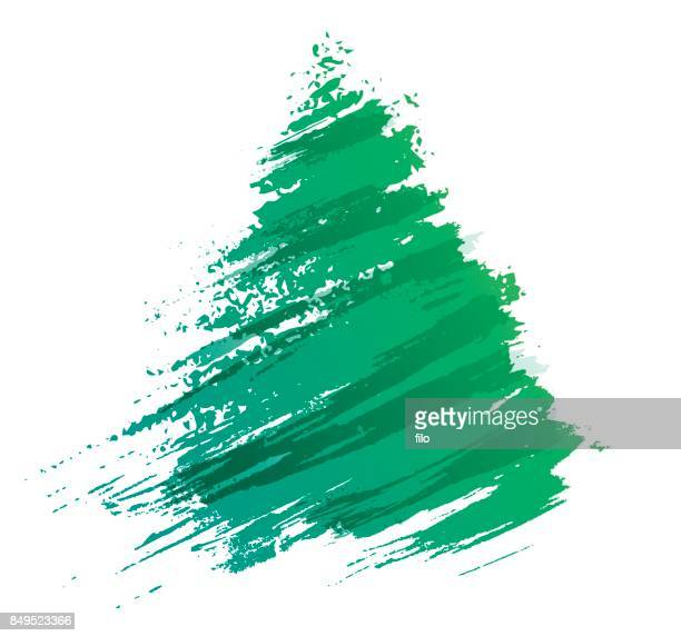 Christmas Tree Brushed Paint Abstract