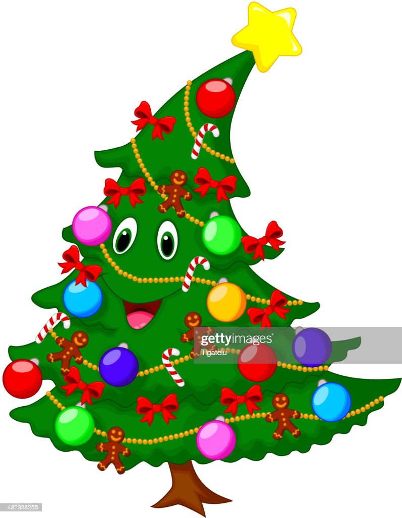 Christmas Tree Cartoon Character High Res Vector Graphic