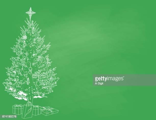 ilustrações, clipart, desenhos animados e ícones de árvore de natal modelo de giz - lorem ipsum