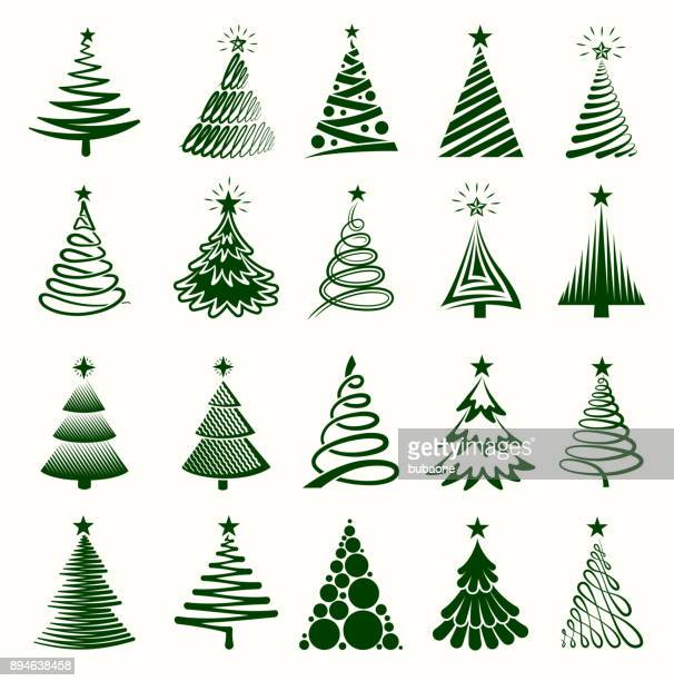 christmas tree collection royalty free vector graphics - christmas tree stock illustrations