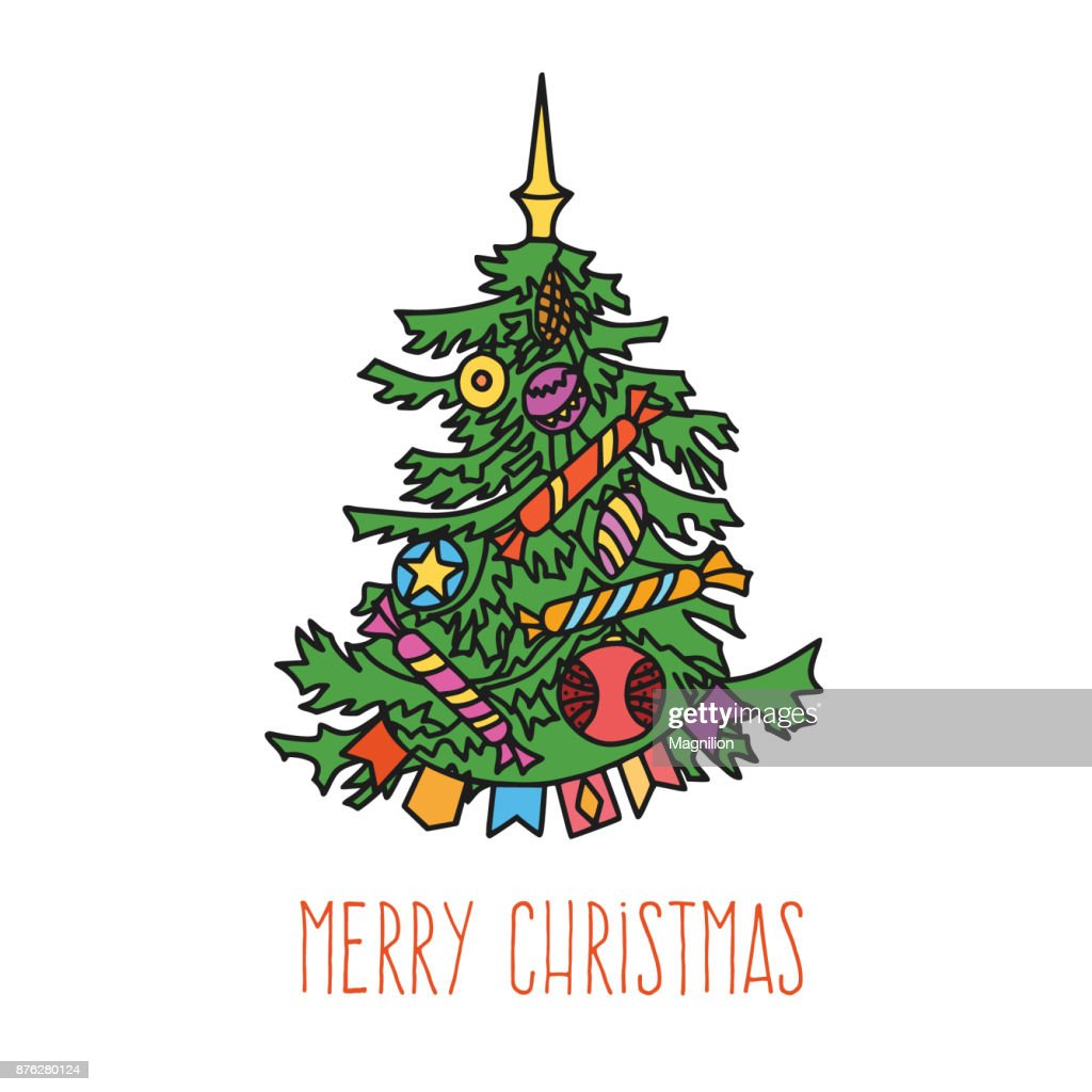 Christmas Tree Colorful Doodle Vector Art | Getty Images