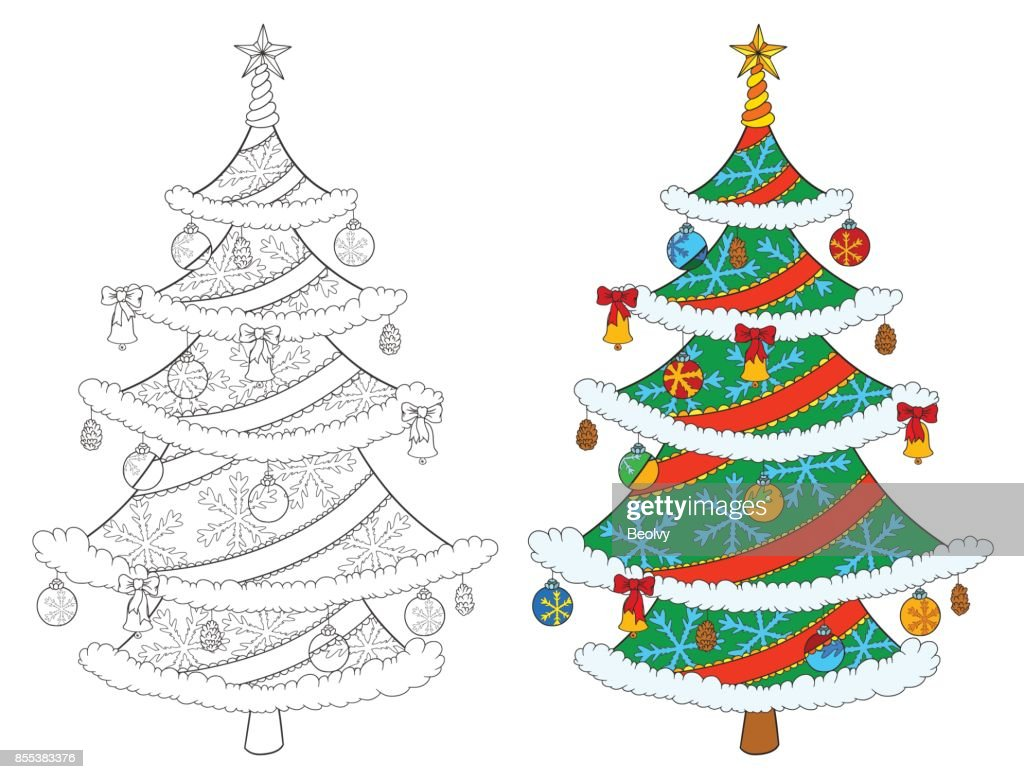 christmas tree coloring book isolated on white vector stock illustration of tree and colored example