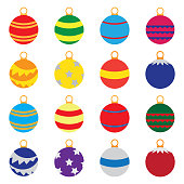 Christmas tree decoration balls in color vector icon set isolated on background