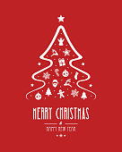 christmas tree elements red background