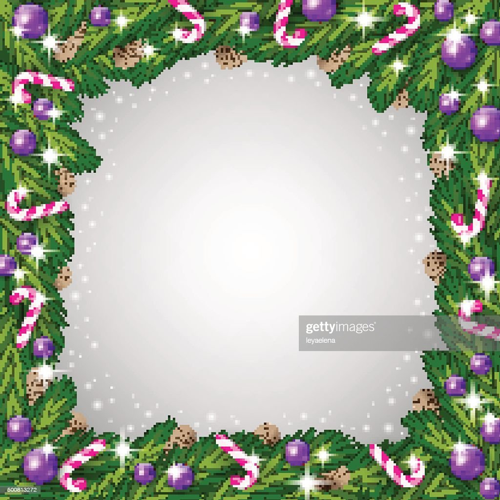 Christmas Tree Frame And Candy Canes Vector Art   Getty Images