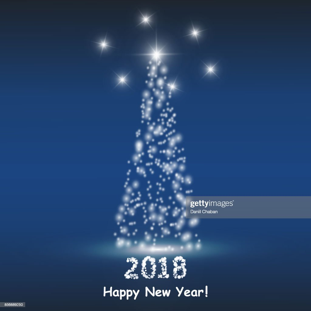 Christmas tree from light vector background. Greeting card or invitation. Eps 10. Merry Christmas and New Year 2018 typographical on holidays background