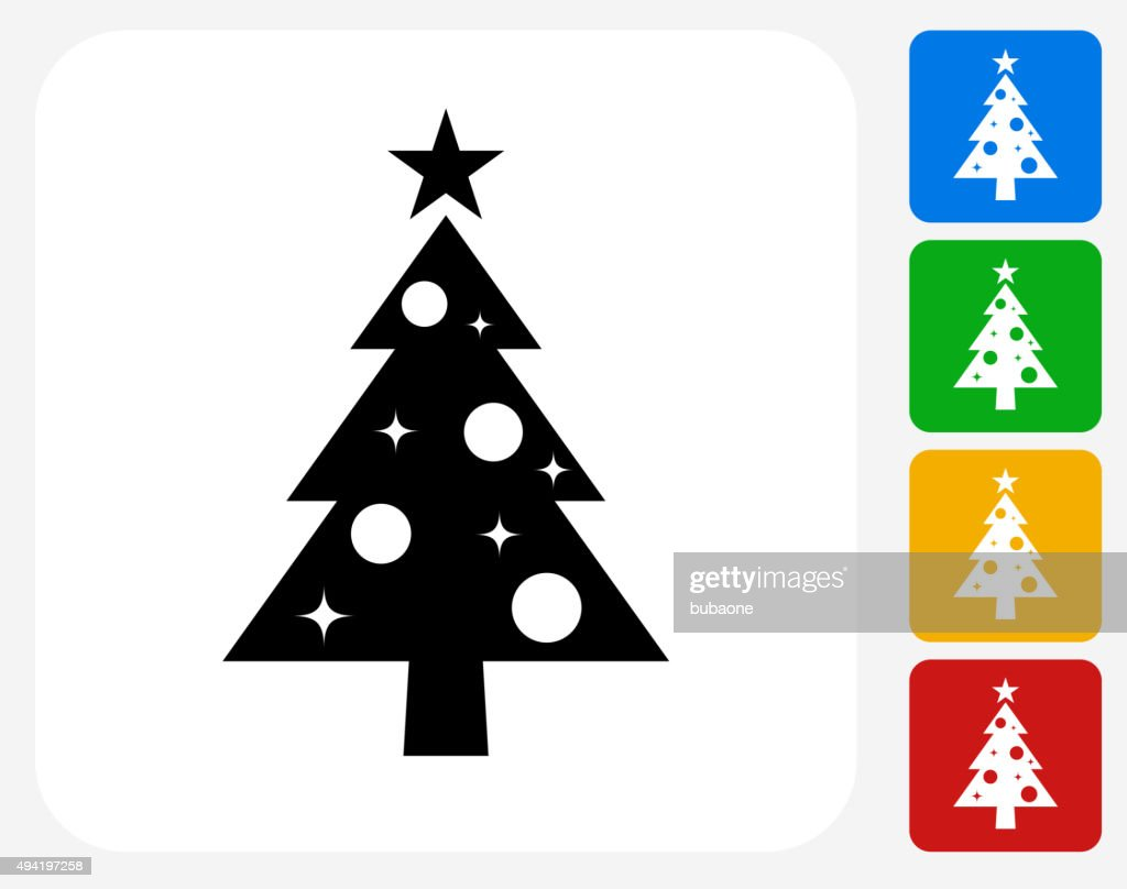 Christmas Tree Icon Flat Graphic Design