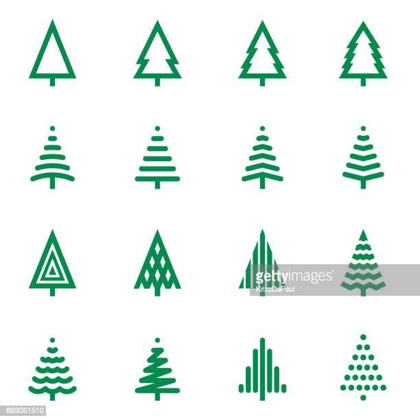 ilustraciones, imágenes clip art, dibujos animados e iconos de stock de árbol de navidad iconos - luces de navidad