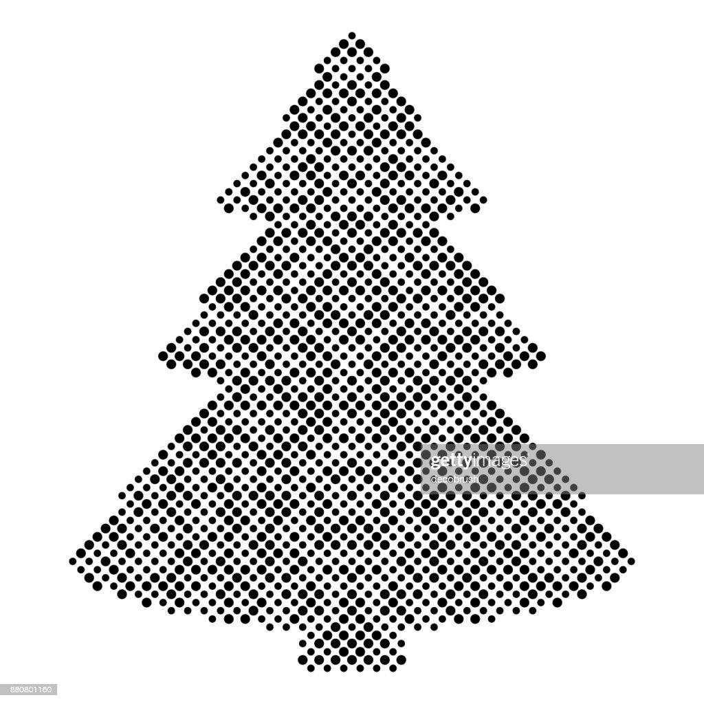 Schwarzer Weihnachtsbaum.Weihnachtsbaum Isoliert Halbtondesignelemente Grafiken