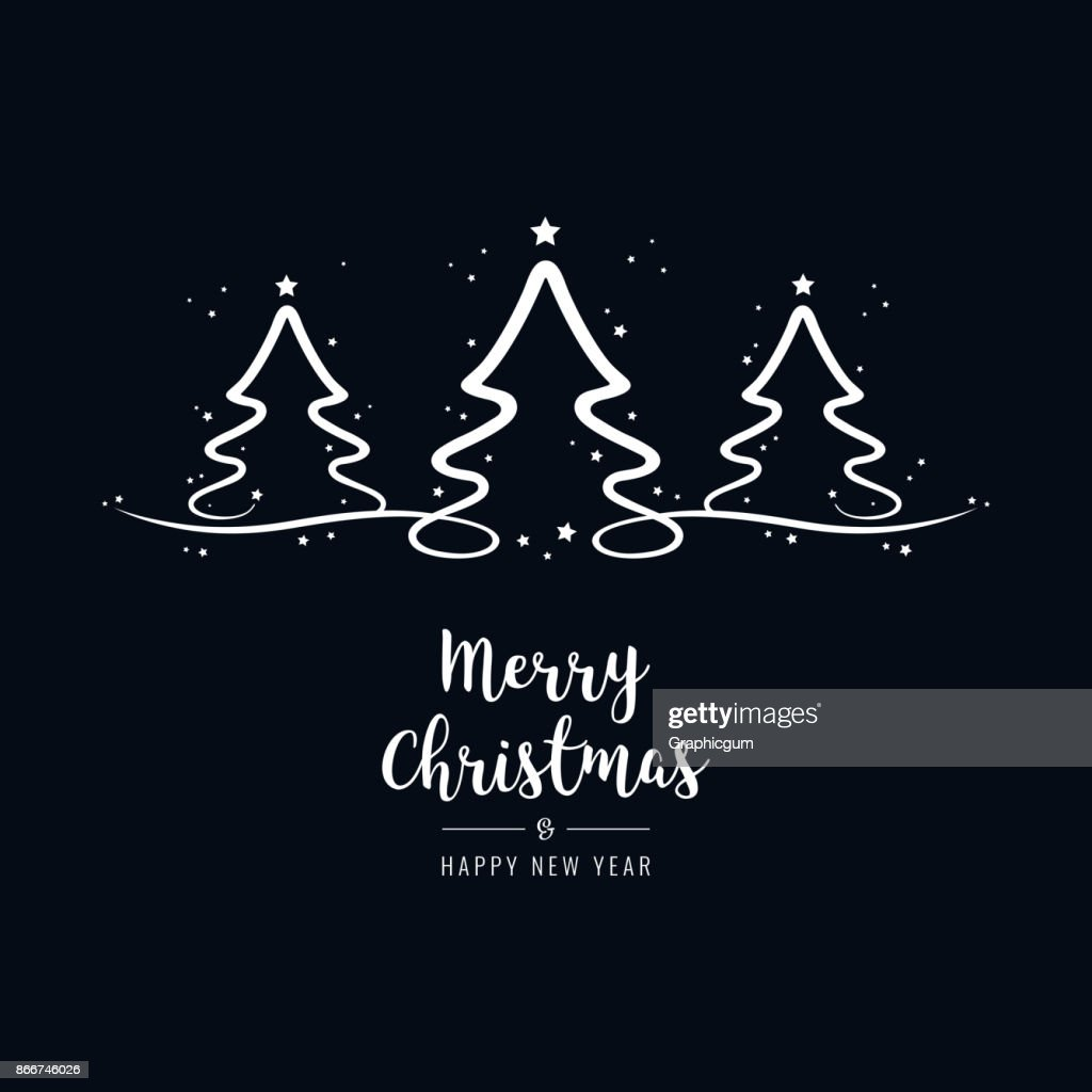 Christmas Tree Lettering Greetings Text Black Background Vector Art