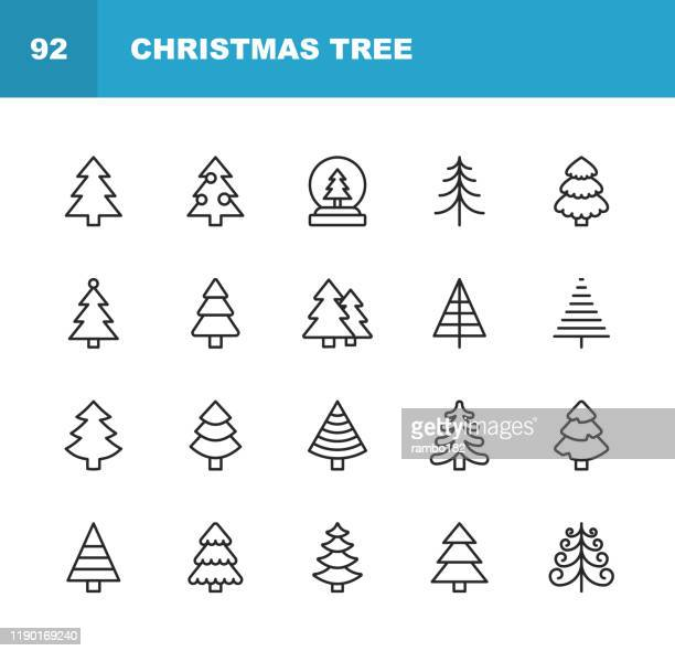 christmas tree line icons. editable stroke. pixel perfect. for mobile and web. contains such icons as christmas tree, nature, holiday, christmas, pine tree, winter. - christmas trees stock illustrations