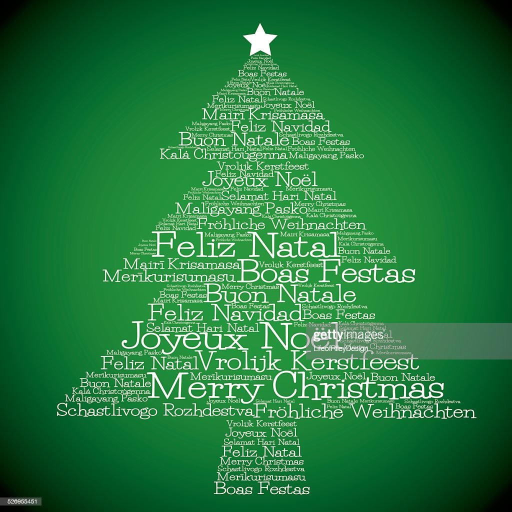 christmas tree made from merry christmas in different language vector art