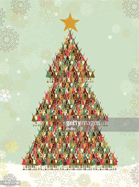 ilustraciones, imágenes clip art, dibujos animados e iconos de stock de árbol de navidad de los niños - chuwy