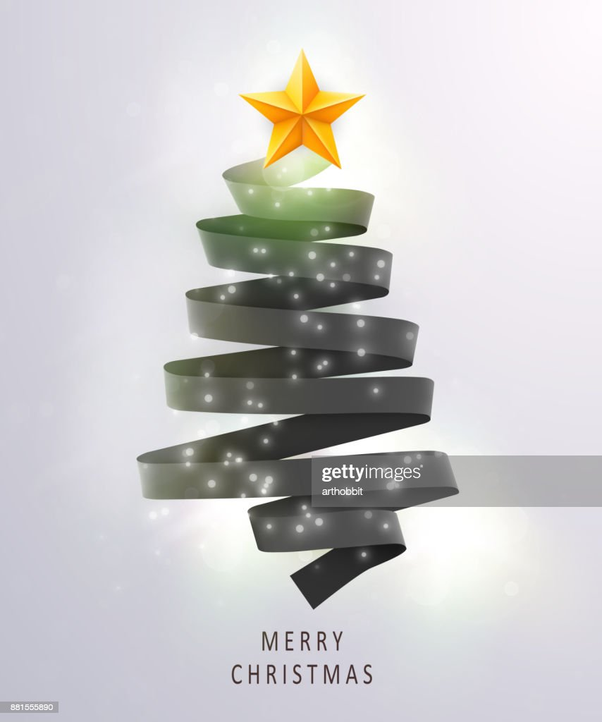christmas tree made of black ribbon on bright background new year and christmas greeting card