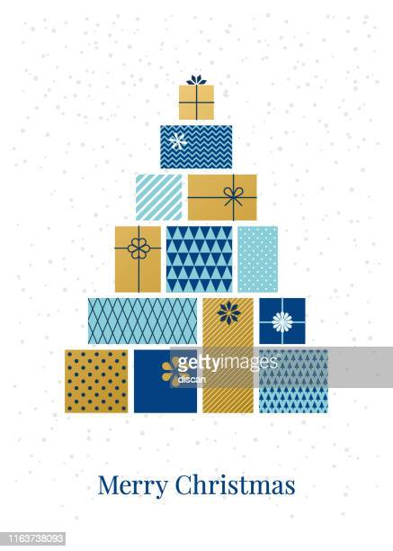 christmas tree made of gift boxes. - vertical stock illustrations