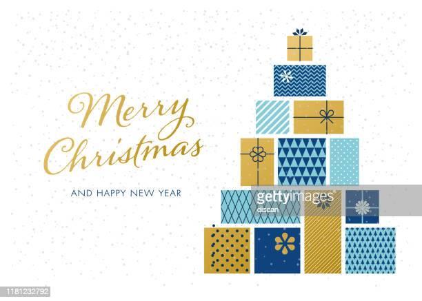 christmas tree made of gift boxes. - christmas present stock illustrations