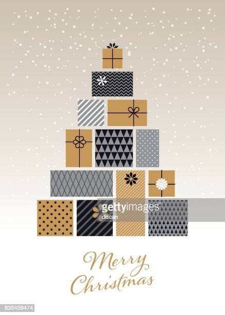 christmas tree made of gift boxes - gift stock illustrations