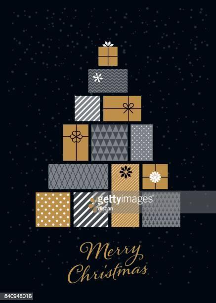 Weihnachtsbaum gemacht von Geschenk-Boxen