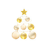 Christmas tree made of gold baubles with star isolated on white background.