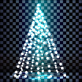 Christmas tree made of lights on a transparent background.