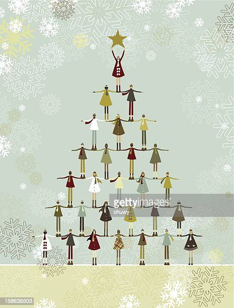 christmas tree of children - symbols of peace stock illustrations