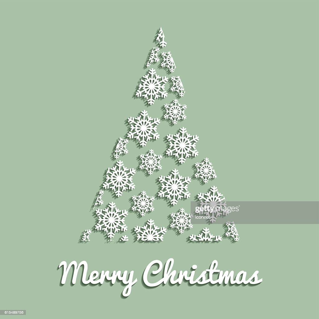 christmas tree on light green background white snow crystals vector art
