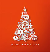 Christmas tree paper cut snowflakes illustration. Merry Christmas greeting card