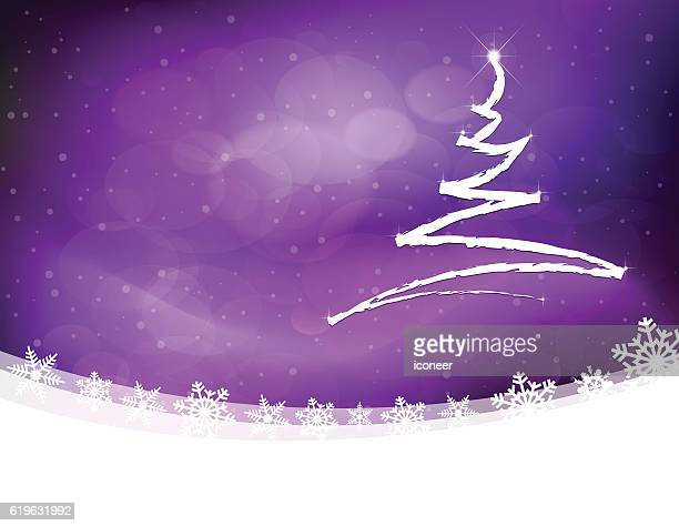Christmas tree pencil drawing on purple landscape with snow flakes