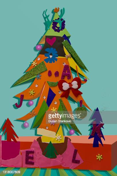 christmas tree postcard - collagen stock illustrations