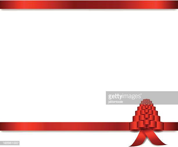 christmas tree ribbon banner - aids awareness ribbon stock illustrations