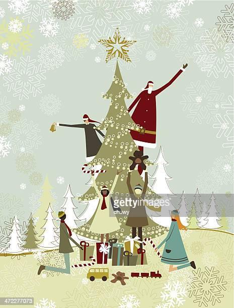 weihnachtsbaum, santa und kinder - europäischer abstammung stock-grafiken, -clipart, -cartoons und -symbole