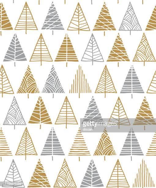 illustrazioni stock, clip art, cartoni animati e icone di tendenza di albero di natale sfondo modello senza cuciture. - decorazione festiva