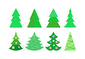 Christmas tree set in flat cartoon style. Craft fir tree collection. Vector illustration.
